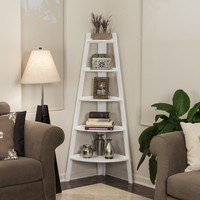 Danya B™ White Five Tier Corner Ladder Display Bookshelf | Overstock.com Shopping - The Best Deals on Media/Bookshelves