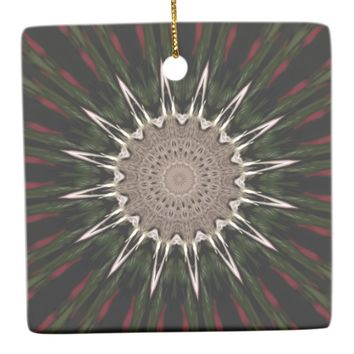 Kaleidoscope Design Dark Green Red Brown Ceramic Ornament