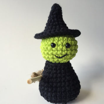 Crocheted Witch Amigurumi, Handmade, Halloween, Fall Decor