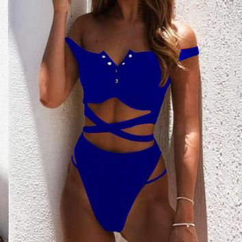 Summer New Fashion Solid Color Straps Two Piece Bikini Swimsuit Blue