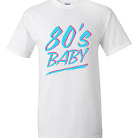 Funny 80s Baby T-shirt Tshirt Tee Shirt Gift Cool christmas gift Dirty Dancing Miami Vice style pastel Fun eighties 1980 Birth Born Decade