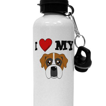 I Heart My - Cute Boxer Dog Aluminum 600ml Water Bottle by TooLoud