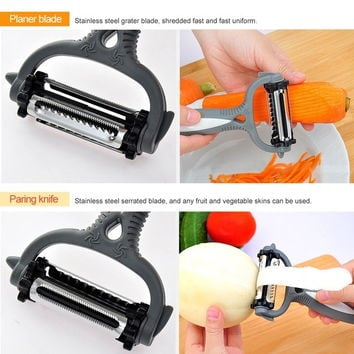 3 in1 Multifunctional 360 Degree Rotary Potato Peeler Vegetable Cutter Fruit Melon Planer Grater Kitchen Gadget stainless steel 3 Blades Peeler = 1841600452