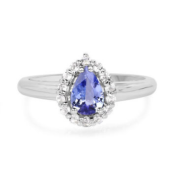 A Perfect Natural 1CT Oval Cut Tanzanite & White Topaz Halo Engagement Ring