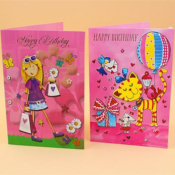(16 pieces/lot)LEISO Brand Cartoon Design Happy Birthday Greeting Card Cute Colorful Gift Card for Children Free Shipping