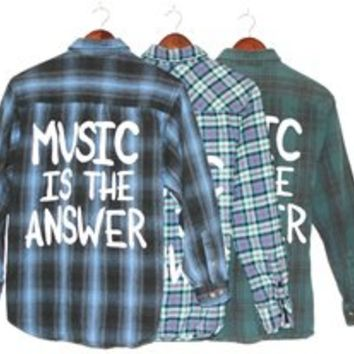 MUSIC IS THE ANSWER Vintage Flannel Shirt COOL COLORS (One of a Kind)