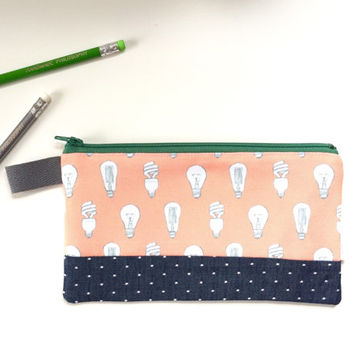 Light Bulbs and Chambray Divided Pencil Case (handmade philosophy's pattern)