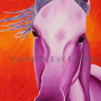 Horse Art Limited Edition Giclee Purple Horse Art Print, Equine Art