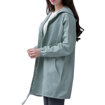 Spring 2017 New Women Jacket Fashion Drawstring Hem Long Sleeves Hooded Coat Spring Lightweight Windbreaker Jaqueta Feminina