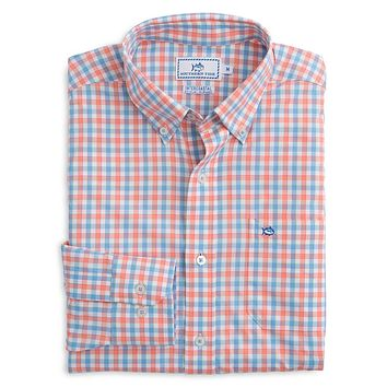 Market Square Gingham Intercoastal Performance Shirt in Nectar Coral by Southern Tide
