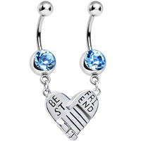 Aqua Gem Holding Hands Best Friend Heart Dangle Belly Ring Set | Body Candy Body Jewelry