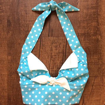 Handmade Vintage Style 1950s Rockabilly Mid Century Retro Pin Up Halter Top Baby Blue White Polka Dot XS Small Medium Large