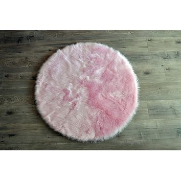 New! Machine Washable Faux Sheepskin Round Cotton Candy Pink Area Rug