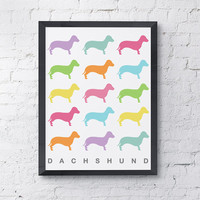 Pastel Color Dachshund Multiple Pattern Dog Print, Weiner Dog Art, Dog Poster