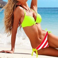 Lime Halter Striped Side-tie Bottom Swimsuit