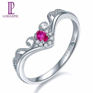 Lohaspie Solid 18K White Crown Engagement Rings Gold Natural Gemstone Ruby Fine Diamond-Jewelry For Women Online Best Buy Gift