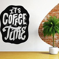 Wall Decals Quote It`s Coffee Time Decal Vinyl Sticker Family Bedroom Home Decor Interior Design Cafe Kitchen EG52