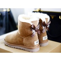 """UGG"" Classic Popular Women Warm Wool A Bowknot Snow Boots Brown I/A"