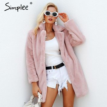 Simplee Elegant pink shaggy women faux fur coat streetwear winter warm plush teddy coat Female plus size overcoat party