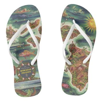 1950 Dole Map of Hawaii Joseph Feher Oil Paint Flip Flops
