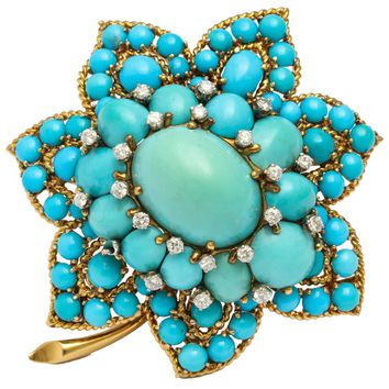 Van Cleef & Arpels Turquoise Diamond Gold Brooch