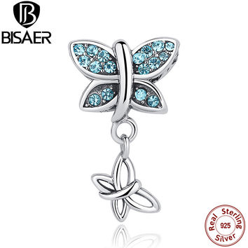2017 Spring Collection 925 Sterling Silver Blue Crystals Butterfly Pendants Fit Pandora Bracelets Engagement Gift ECC030