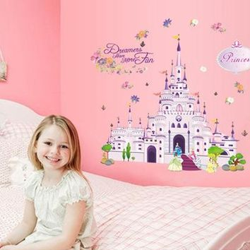 Free Shipping Princess Dream castle Wall Stickers Vinyl Decal Girl Room Nursery Y009 Wallpaper Mural Art poster