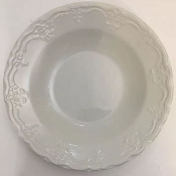 "Tabletops Unlimited Versailles LG Embossed Scrolls White Rim Soup/Pasta Bowl 9""D"