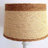 Drum Style Lampshade, Beach Nautical Coastal Decor lamp shade, Natural woven sisal rope, table lampshade, Ocean decor, light fixture shade