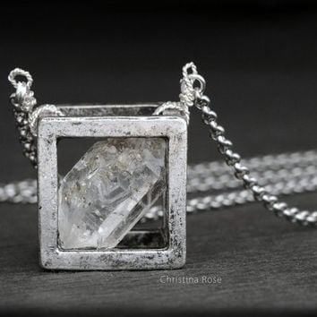 RAW DIAMOND NECKLACE - Floating Cube Pendant, Distressed Vintage Silver Cube Extra Long Stainless Chain