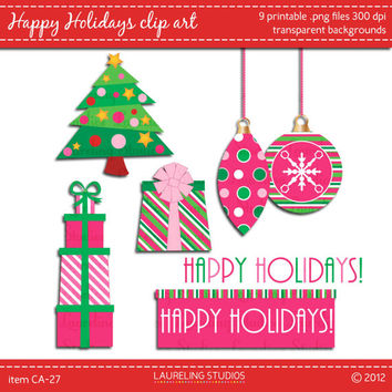 modern christmas clip art in pink and green, digital art, christmas tree, gift stack, ornaments, happy holidays - instant download, CA234