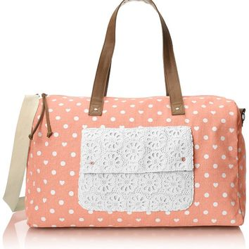 Wild Pair Printed Dot Weekender Duffle Bag, Rose, One Size