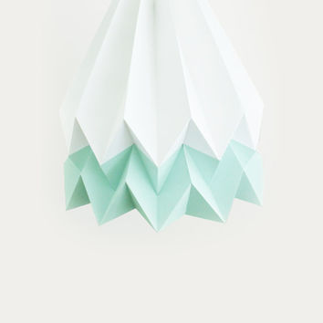Handmade Origami Lighting | Polar White with Mint Blue Stripe | with Cord Set