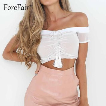 Forefair Sexy Mesh Patchwork Shirt Femme Off Shoulder Tunic Crop Tops Women 2017 Party Casual Tube Croped