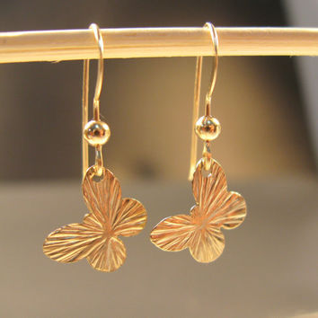 Gold butterfly earrings, 14k gold filled earring, dainty earrings, butterfly jewelry
