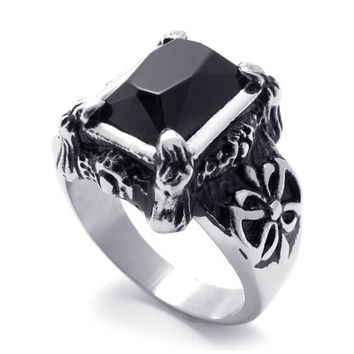 316L Titanium Steel Ring with Mosaic Black Agate Inlay for Men or Women-SIZE 11