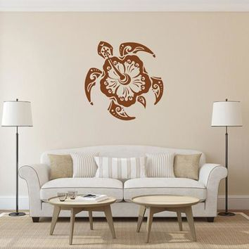 ik1890 Wall Decal Sticker sea turtle tattoo style bathroom living room