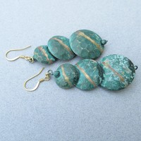BIG 1980's Vintage Etruscan Faux Verdigris Rustic Discs Long Dangle Pierced Earrings