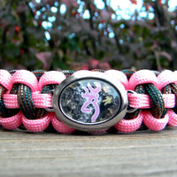 """Paracord Bracelet Rose Pink/""""M"""" Camo with Pink Buck and Antler Bow Image Charm"""