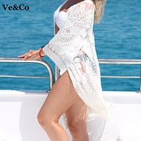 Pareo Beach Cover Up Embroidery  Bikini Swimsuit Cover Up Robe De Plage Beach Wear Cardigan Swimwear Bathing Suit Cover Up
