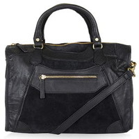 Suede and Leather Holdall - Black