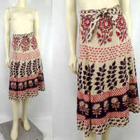 Vintage 1970s Made In India wrap skirt Hippie bedspread fabric festival Boho groovy