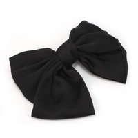 Charming Girl Lady Satin Big Bowknot Bow Clip Hair Accessories Hairclip Hot - Black