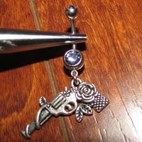 Purple Belly Ring with Rose Pistol