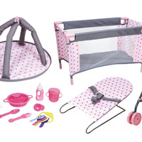 "Lissi Dolls 16"" Deluxe Nursery Doll Playset (Colors may vary)"