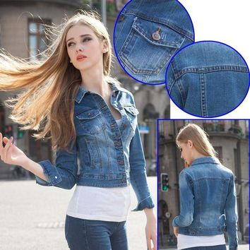 ONETOW Denim Slim Stretch Long Sleeve Ladies Autumn Jacket [206225244186]