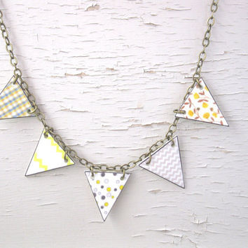 Pastel Geometric Jewelry Yellow and Grey Bunting Necklace Chevron Polka Dots Spring Trend