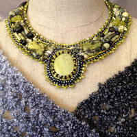 Bead Embroidered Collar- Yellow Turquoise Cabachon