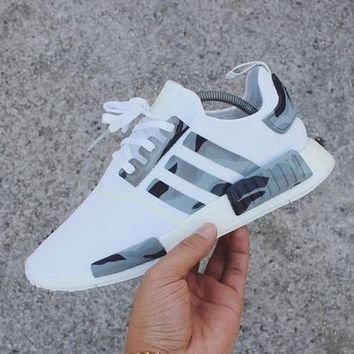 Adidas NMD Women Men Casual Running Sport Shoes Sneakers - Camouflage White