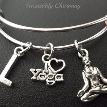 Yoga Inspired bracelet, Stainless Steel Expandable Bangle, monogram personalized item No.240